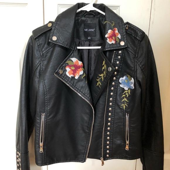shop for best sale retailer best deals on Me Jane black Juniors leather jacket with flowers